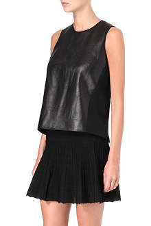 JONATHAN SIMKHAI Sheer-back leather top