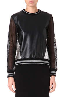 JONATHAN SIMKHAI Leather and bouclé sweatshirt