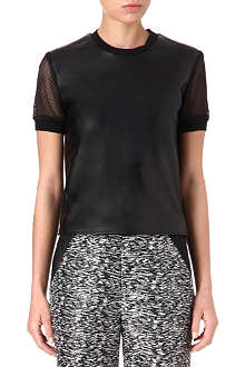 JONATHAN SIMKHAI Leather and mesh top