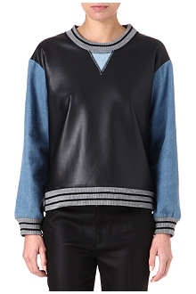 JONATHAN SIMKHAI Denim and faux-leather sweatshirt