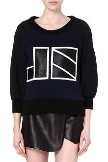 JONATHAN SIMKHAI Leather-logo neoprene sweatshirt