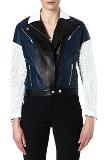 JONATHAN SIMKHAI Moto contrast-panel leather jacket