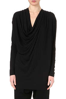 DAGMAR Draped wool-blend top