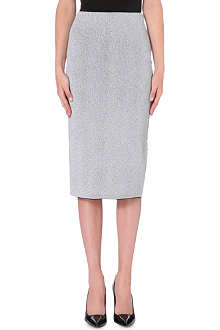 DAGMAR Metallic knitted pencil skirt