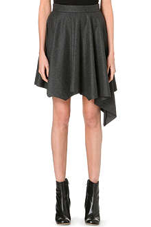 DAGMAR Asymmetric wool-blend skirt