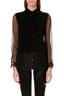 DAGMAR Semi-sheer panel shirt
