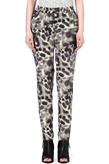 DESIGNERS REMIX Silk animal print tapered trousers