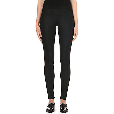 DESIGNERS REMIX Panelled cotton-blend leggings (Black