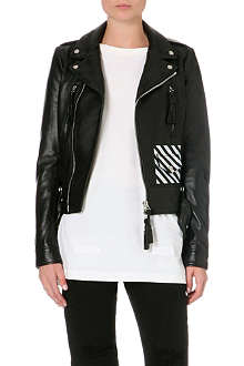 OFF WHITE Logo leather jacket