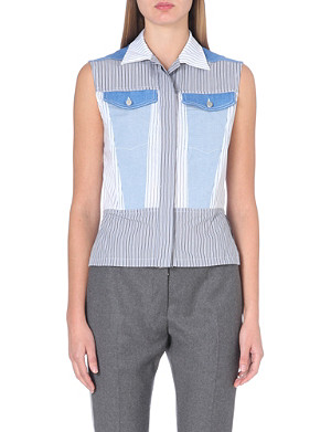 DION LEE Sleeveless denim and cotton vest