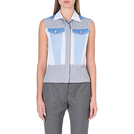 DION LEE Sleeveless denim and cotton vest (Multi
