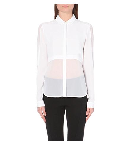 DION LEE Sheer-panel crepe shirt (White