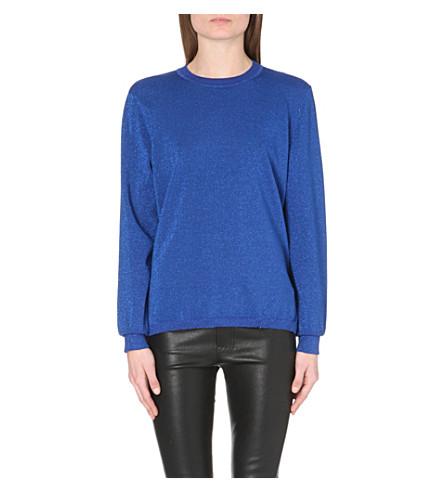 DION LEE Draped-back metallic jumper (Cobalt