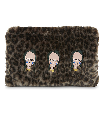 SHRIMPS Alasdair faux fur clutch bag (Grey