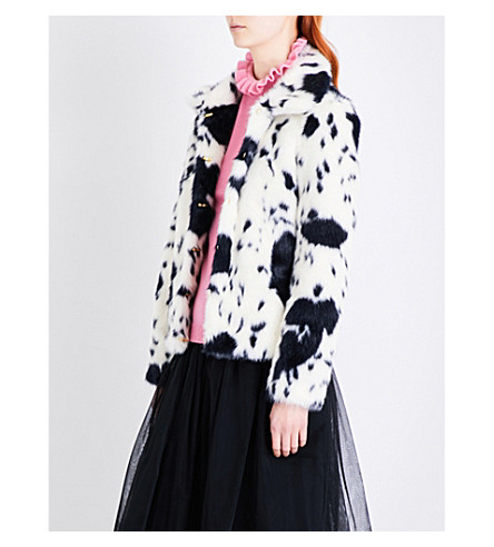 SHRIMPS Alba faux-fur coat (Cream+navy