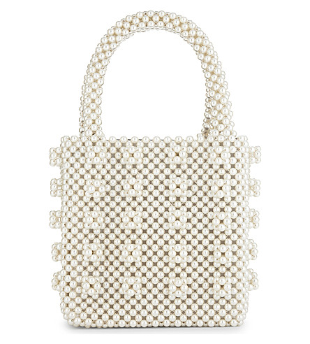 SHRIMPS Antonia faux-pearl beaded tote (Cream