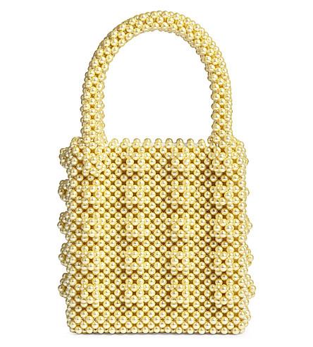SHRIMPS Antonia beaded bag (Lemon