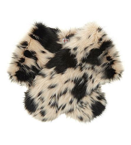 SHRIMPS Ange faux-fur shawl (Cream+navy