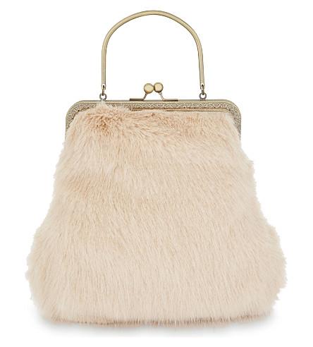 SHRIMPS Arthur faux-fur handbag (Shell+pink