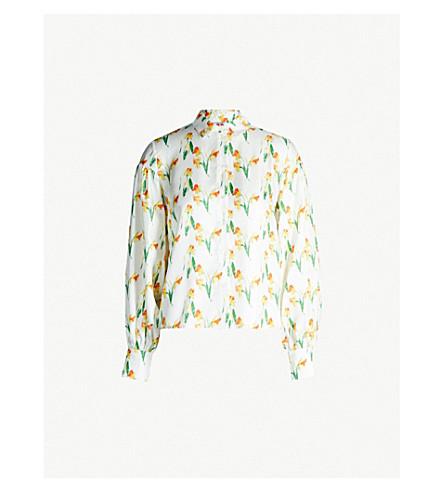 SHRIMPS Bellatrix silk-twill shirt (Wht yellow