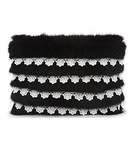 SHRIMPS Lace trim faux-fur clutch (Black