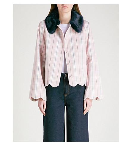 SHRIMPS Bruna faux-fur collar cotton jacket (Pink/+navy