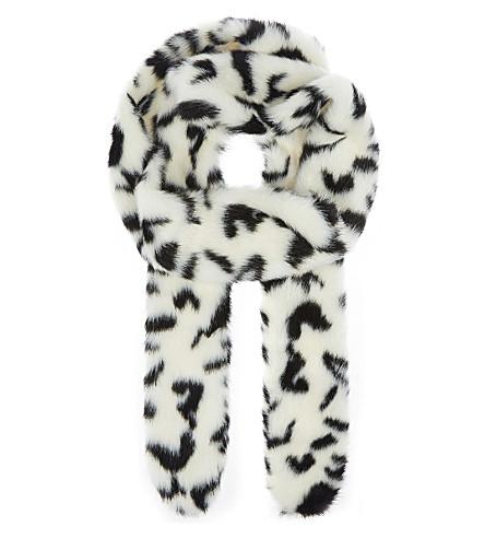 SHRIMPS Catrina faux-fur scarf (Cream+/+black