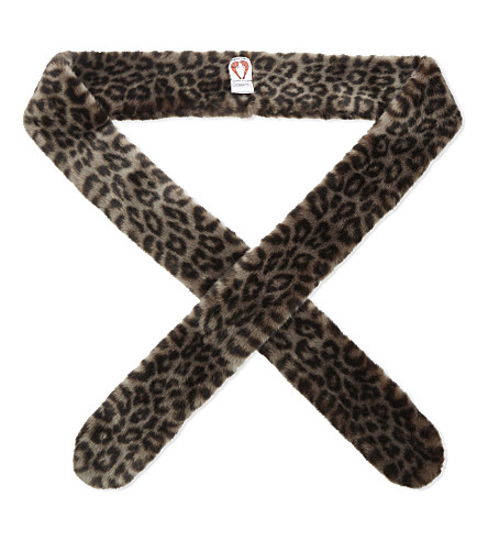 SHRIMPS Catrina faux-fur scarf (Grey+leopard