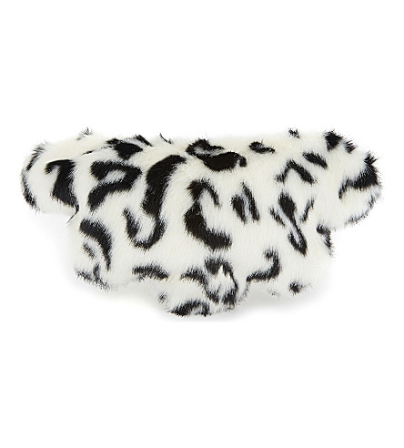 SHRIMPS Leopard print faux-fur clutch (Black+/+cream