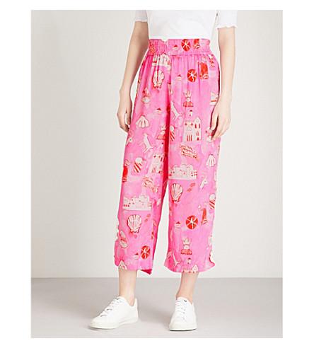 SHRIMPS Dagobert cropped silk-satin trousers (Pink