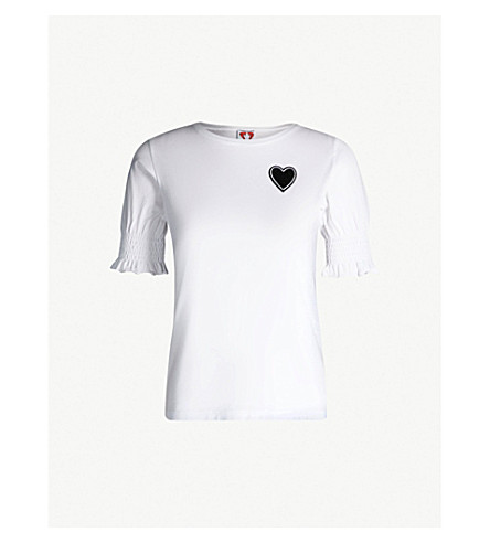 SHRIMPS Embroidered cotton-jersey T-shirt (White
