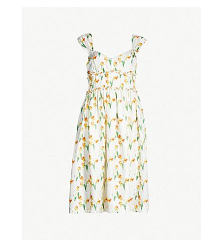 SHRIMPS Elara silk-twill dress (Wht yellow