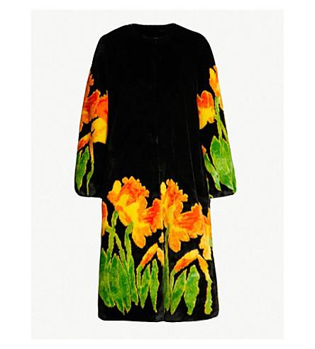 SHRIMPS Daffodil-print faux-fur coat (Blk/multi