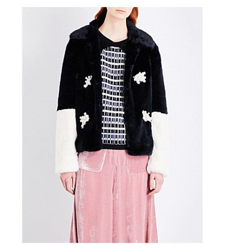 SHRIMPS Evan faux-fur coat (Black
