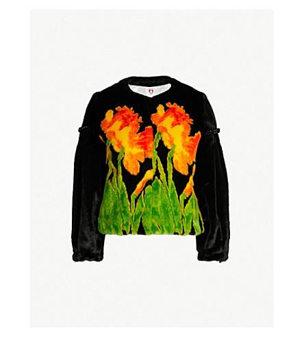 SHRIMPS Daffodil-print faux-fur jacket (Blk multi