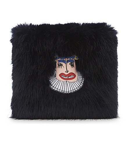 SHRIMPS Finola faux fur clutch bag (Navy
