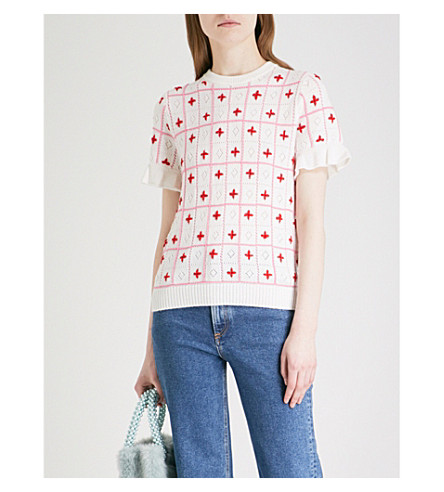 SHRIMPS Flo knitted check-pattern wool-blend top (White+/+pink+/+red
