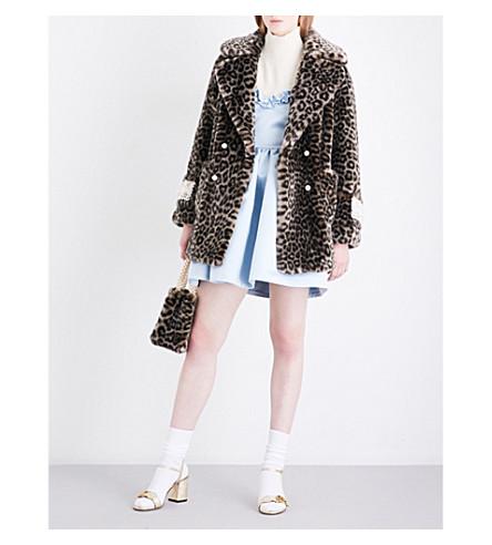 SHRIMPS Gavin leopard-print faux-fur coat (Grey+leopard