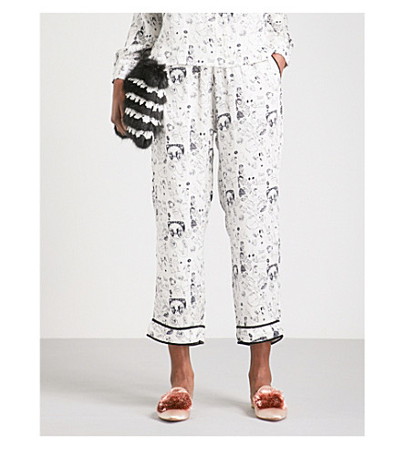 SHRIMPS Gordon drawing-print silk-satin trousers (Cream+/+black