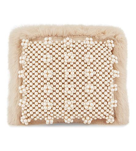 SHRIMPS Graham faux-fur clutch bag (Shell+pink
