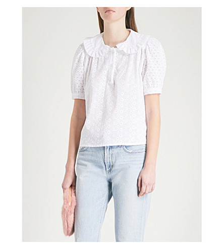 SHRIMPS Harold broderie anglaise top (White