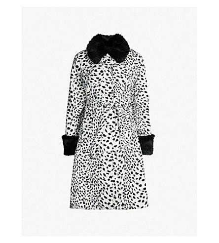 SHRIMPS Leo contrast-collar leopard-print faux-fur coat (White black