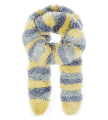 SHRIMPS Lilou faux-fur scarf (Multi+/+lemon+blue+mint