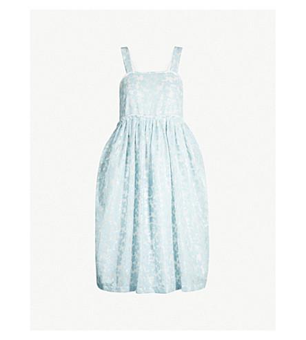 SHRIMPS Floral-motif sequinned woven dress (Clstl blue