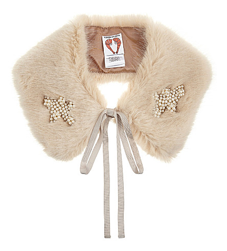 SHRIMPS Lucy faux-fur collar (Shell+pink