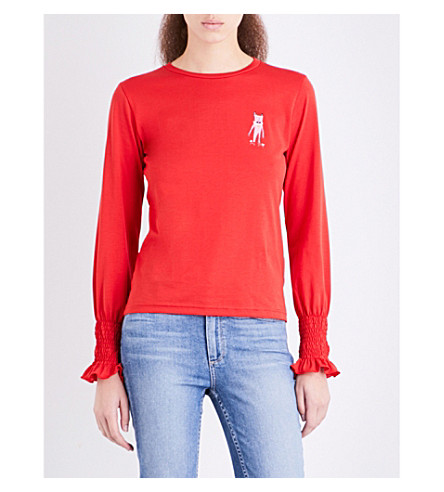 SHRIMPS Maxwell embroidered cotton-jersey top (Red