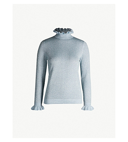 SHRIMPS Robin metallic wool-blend jumper (Clstl blue