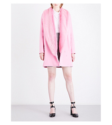 SHRIMPS Rory faux-fur and wool-blend coat (Sugar+mouse+pink