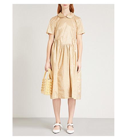 SHRIMPS Rufus metallic gingham-pattern woven dress (Gold