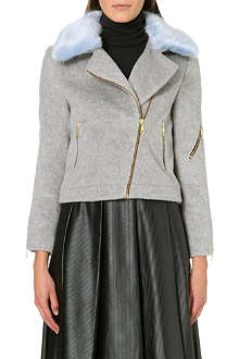 SHRIMPS Agnes brushed-felt biker jacket